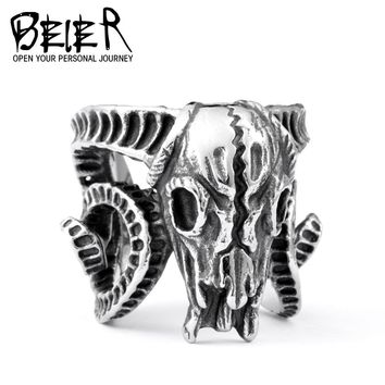 Open ring Stainless Steel Nose viking Ancient dish Sheep head Skull Ring Vintage Opening ring Men Jewelry BR8-042