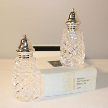 Mikasa Crystal Salt and Pepper Shaker, Berrington Pattern, Cut Crystal