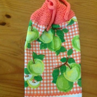 Gorgeous Green Apple Hanging Cotton Dish Towel With Acrylic Orange Hand Knit Topper and Ties