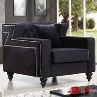 Harley Black Velvet Chair