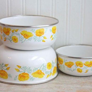 DCCK1IN vintage enamelware poppy flower mixing bowl kobe kitchen  number 1