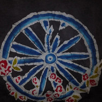 Adult Batik Short Sleeve Grateful Dead the Wheel with Flowers in Green sizes sm-3x