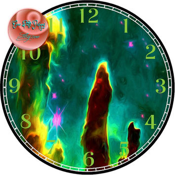 """Pillars of Creation Nebula Painting Art - -DIY Digital Collage - 12.5"""" DIA for 12"""" Clock Face Art - Crafts Projects"""
