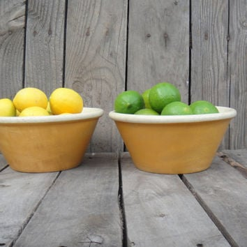 Vintage Wooden Farmhouse Bowl Set Serving Fruit Fall Winter Yellow Farm Country Decor Shabby Chic Carved Rustic French Country Turned Wood
