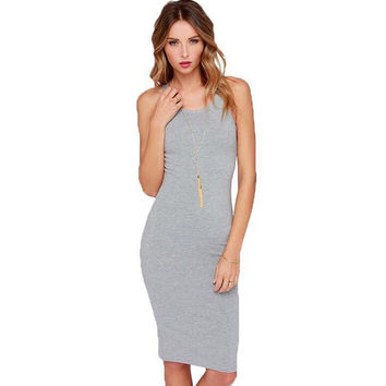 Womens Summer Gray Comfortable Dress Gift 90