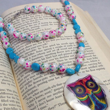 Candy Colored Owl Necklace Glass Jawbreaker and Blue Beaded Necklace and Matching Bracelet Set