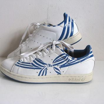 ADIDAS Vintage 1980s Sneaker Blue Bow Stan Smith Sport Shoes Womens US6