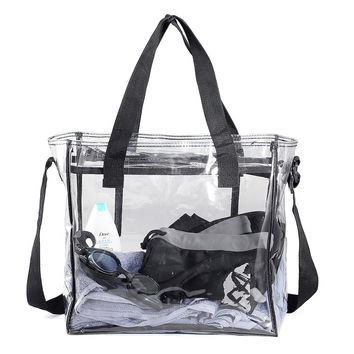 KCASA KC-0628 Clear PVC Travel Storage Bag Waterproof Zipper Adjustable Gym Shoulder Bag