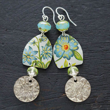 Light Blue Flower Earrings with Silver Belly Dance Coin Charms and Blue and Mint Green Czech Beads, Boho Chic Jewelry, Floral Tin Jewelry