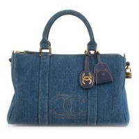 Chanel Vintage Denim Cc Boston Bag - Vintage Qoo - Farfetch.com