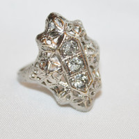 Sterling Filigree Ring CZ  Victorian  Engagement Vintage Jewelry