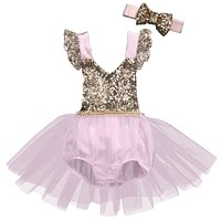 Summer Toddler Baby Girls Clothing Sequins Princess Romper Lace Party Tutu Flower Jumpsuit +Headband 2pcs Sun-suit Clothing
