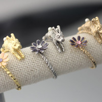 Rabbit with Floral Adjustable ring, Bunny with flower ring