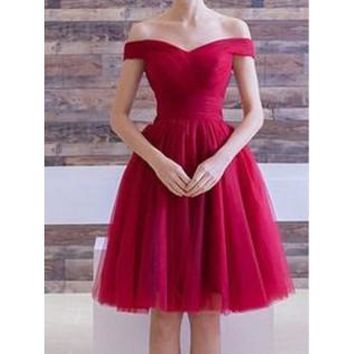 Red Off Shoulder Short Sleeve Homecoming Dresses,Tulle Knee Length Homecoming Dresses