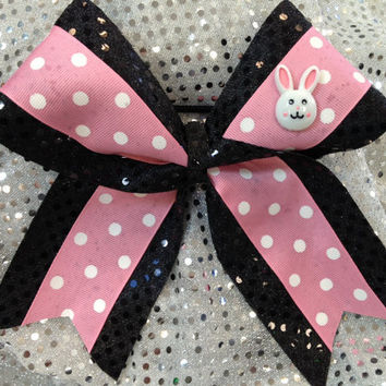 1 Easter Pink w/ Bunny  Sparkle Cheer Dance Bow Ribbon