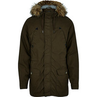 River Island MensKhaki green casual parka jacket
