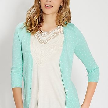 the classic cardi in dot print | maurices