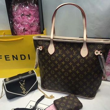 Year-End Promotion 3 Pcs Of Bags Combination (LV Bag ,YSL Mid Bag ,LV Wallet)