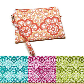 Floral medallion double zippered iphone wristlet wallet. CHOOSE YOUR COLORS: Aqua, Berry, Coral, Green. Vegan phone purse. Gift for her.