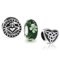 Mothers Day Gifts 925 Sterling Silver Celtic Claddagh Heart Clover Bead Set Fits Pandora