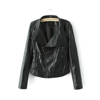 Black Zipper Seamed Faux Leather Lapel Biker Jacket