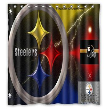 66x72 Pittsburgh Steelers Shower Curtain 72x72 inch Dragon Ball Z Bleach Fairy Tail Naruto Together Shower Curtain
