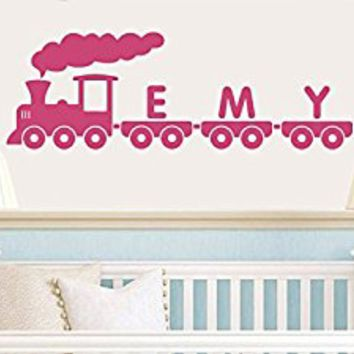 Wall Decal Vinyl Sticker Decals Art Decor Design Train Thoo Excavator Tractor Custom Name baby Kids Children Mans Living Room Nursery (r571)