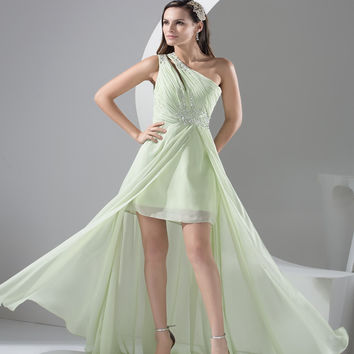 Special Offer Mint Green Floor Length Chiffon One Shoulder long Bridesmaid Dresses 2016 front slit Party Dresses Prom dresses