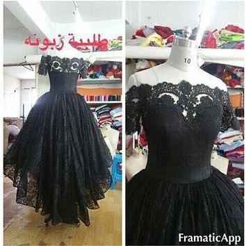 New High Low Prom Dresses Hi Lo Gown Off shoulder Black Lace Ruffles women Prom Evening Dress long Party Dresses