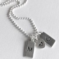 Boyfriend Girlfriend Jewelry, Hand Stamped Initial Necklace, Personalized Dog Tag Charms