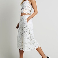 White Crochet Lace Crop Top And High Waist Palazzo Pants