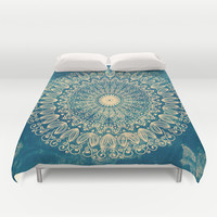 BLUE ORGANIC MANDALA Duvet Cover by Nika | Society6