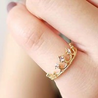 Cute Rhinestone Crown Tail Ring  JZ0001 from lovely girls