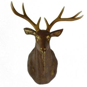 Large Size Plastic Deer Head Wall Hanging Decoration antique golden