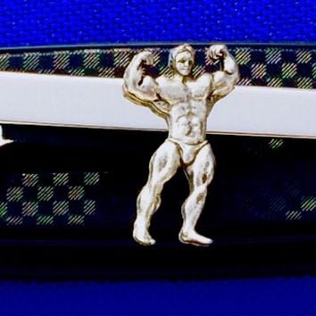 Bodybuilder tie bar Built Person tie clasp gift idea weight lifter~Handmade in the USA~FAST Shipping from the USA