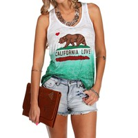 White/Green Ombre California Love Tank