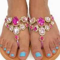 Summer Queen Dream Pink Gem Stone Sandals