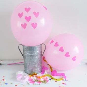 Pink Balloon Kit With Glitter Heart Stickers