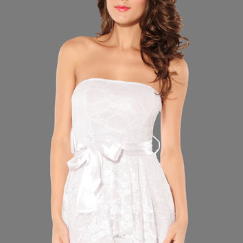 White Strapless Dress with Lace Trim Overlay