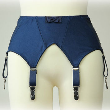 Blue Vintage Inspired Garter Belt Retro High waist Suspender Belt Size S-XL