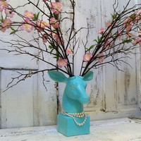 Table top mounted deer head robins egg blue twig floral blossom antlers shabby chic cottage wall decor Anita Spero