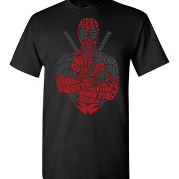Deadpool Typography Portrait Tee (Adult and Youth Sizes)