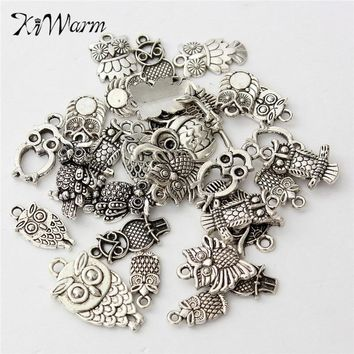 KiWarm 30Pcs Mixed Tibetan Silver Owl Charms Pendant Bead Necklace Jewelry Making Craft DIY Hanging Ornament