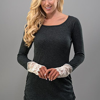 Long Sleeve Top with Lace Detail - Charcoal