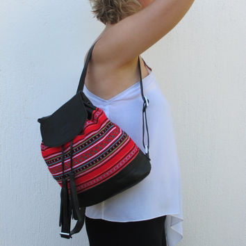 Leather handmade backpack with tassels and traditional woven fabric in red Crete-BP 04B NEW