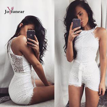 women lace short rompers  jumpsuits with belt  2016 summer sexy sleeveless white  playsuit jumpsuit romper macacao feminino
