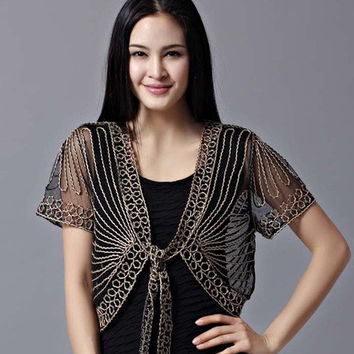 Wild Perspective Small Shawl  Fashion Netting Lace Cardigan Gauze Lacing