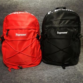 Supreme Canvas Backpack College High School Bag Travel Bag-1