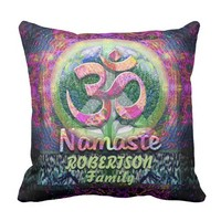Custom Namaste Peace Symbol Throw Pillow