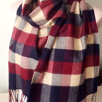 Man Scarf from Wool plaid desing scarf, Christmas Gift, unisex scarf